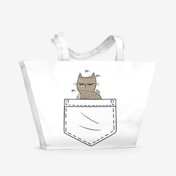 Пляжная сумка «Котик в белом кармане»