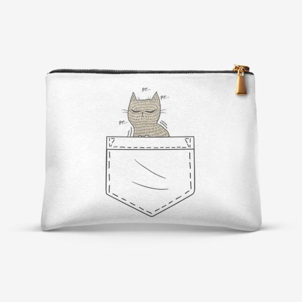 Косметичка «Котик в белом кармане»