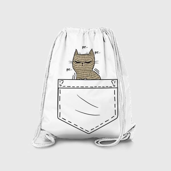 Рюкзак «Котик в белом кармане»