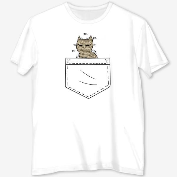 Футболка с полной запечаткой «Котик в белом кармане»