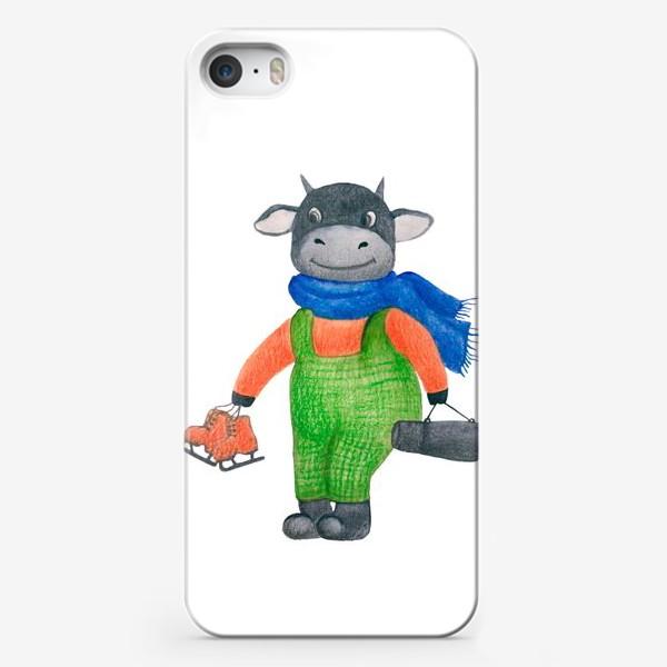 Чехол iPhone «Цветная иллюстрация бык смешанная техника»