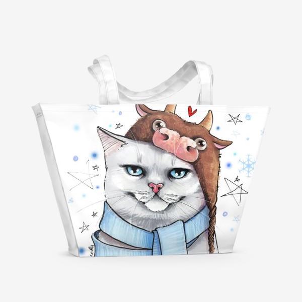 Пляжная сумка «кот в шапке с быком нг 2021 - белый фон »