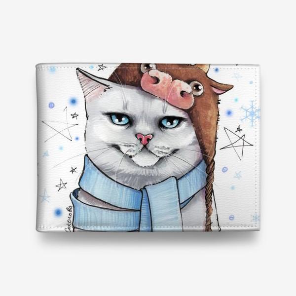 Кошелек «кот в шапке с быком нг 2021 - белый фон »