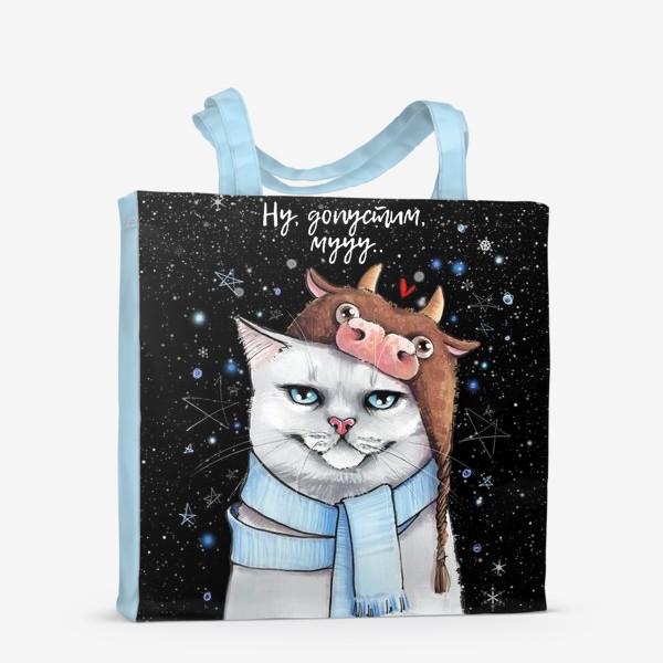 Сумка-шоппер «кот в шапке с быком нг 2021 - черный фон »