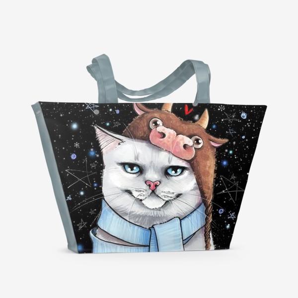 Пляжная сумка «кот в шапке с быком нг 2021 - черный фон »