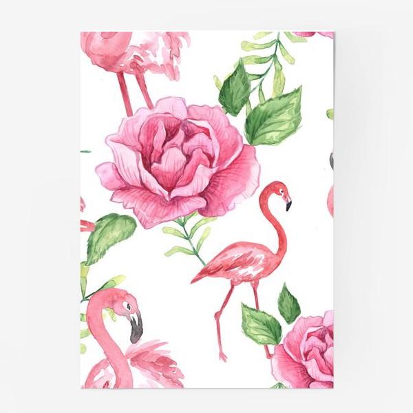 Постер «Паттерн Флмаинго Пион Цветы и птицы»