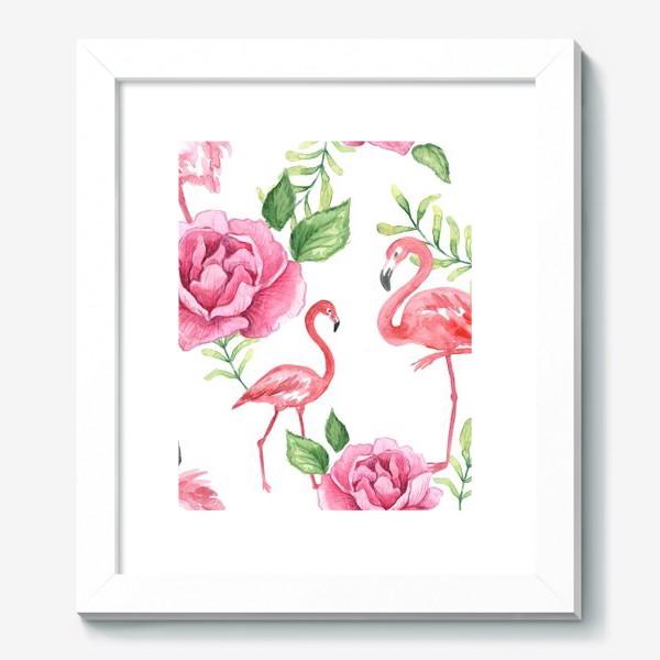 Картина «Паттерн Флмаинго Пион Цветы и птицы»