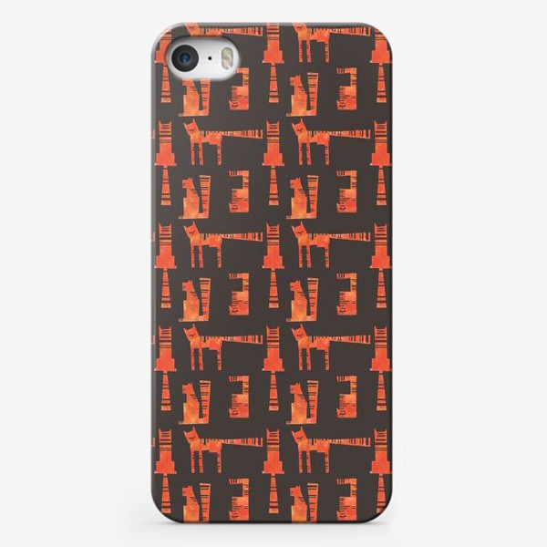 Чехол iPhone «Тигры на черном (паттерн)»