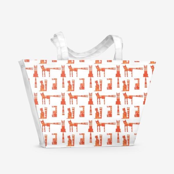 Пляжная сумка «Тигры на белом (паттерн)»