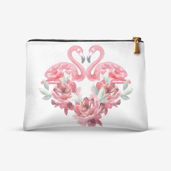 Косметичка «Сердце из цветов Фламиного пионы»