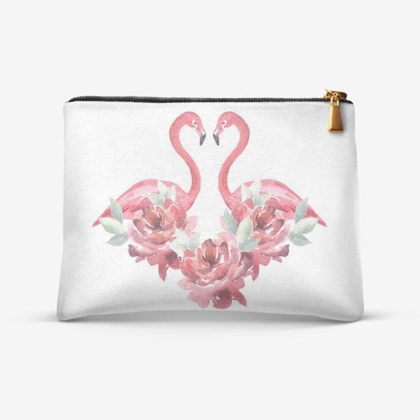 Косметичка «Розы Фламинго Акварель»