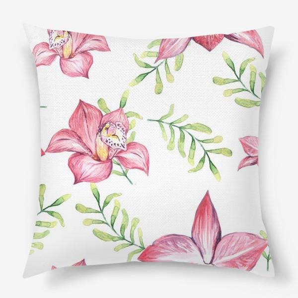 Подушка «Орхидея Цветок Паттерн»