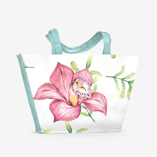 Пляжная сумка «Орхидея Цветок Паттерн»