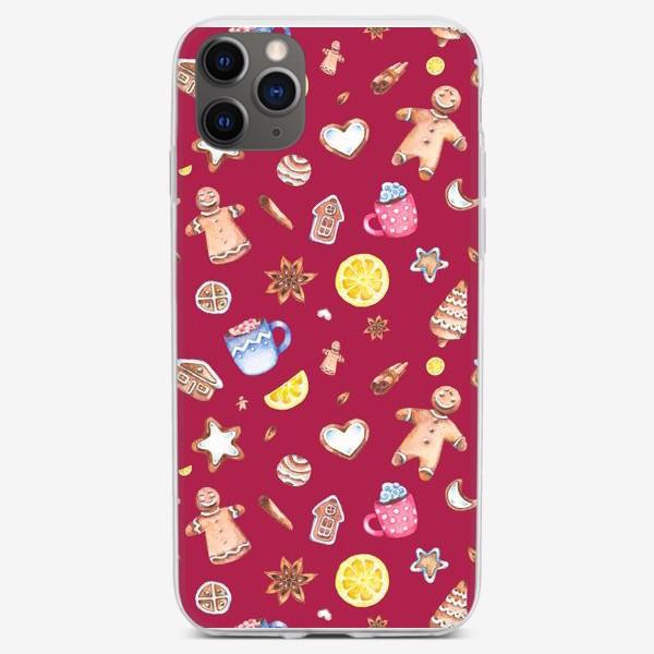 Чехол iPhone «Имбирные человечки (на красном)»