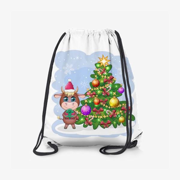 Рюкзак «Бык, символ 2021 года, бык с подарком возле елки»