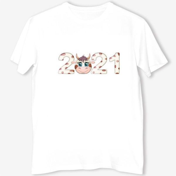 Футболка «2021, корова в надписи нового года»