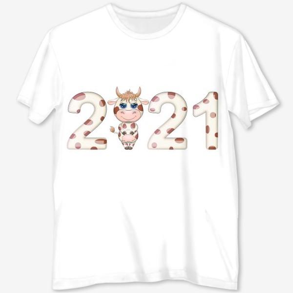 Футболка с полной запечаткой «2021, корова в надписи нового года»