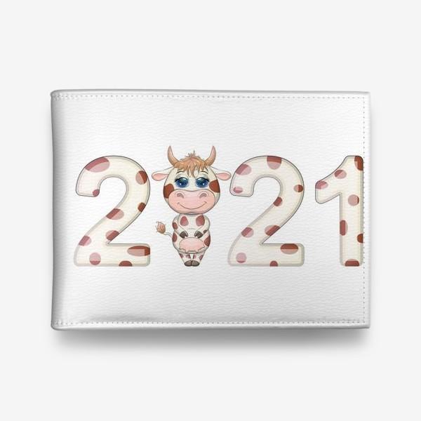 Кошелек «2021, корова в надписи нового года»