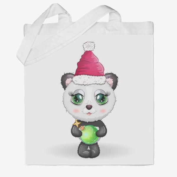 Сумка хб «Панда с елочным шариком, новый год»