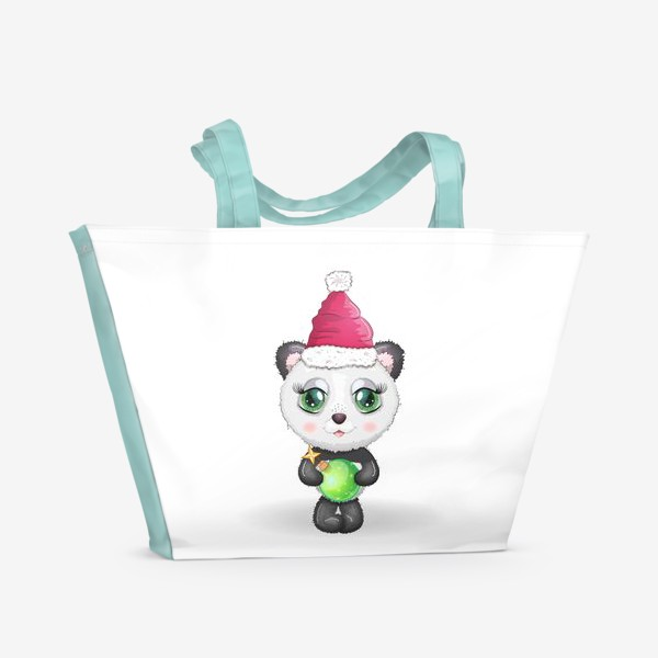 Пляжная сумка «Панда с елочным шариком, новый год»