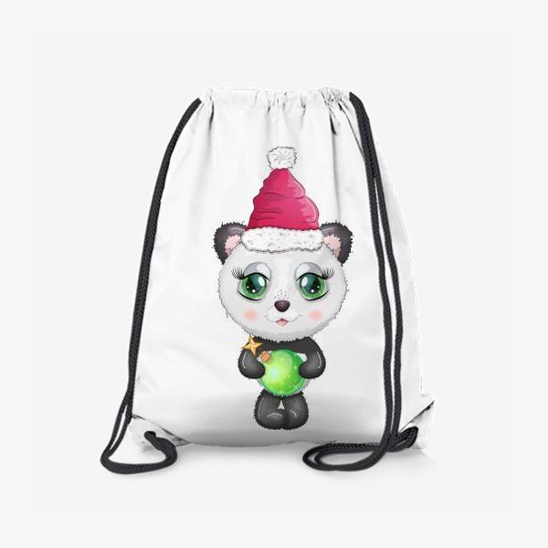Рюкзак «Панда с елочным шариком, новый год»