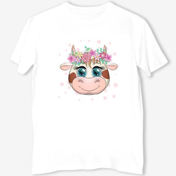 Футболка «Бык, символ 2021 года, мордочка милой коровы в венке»