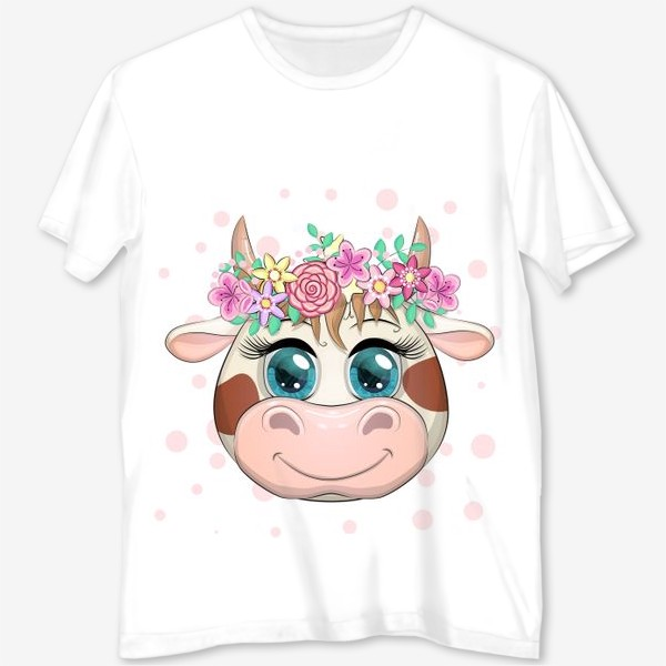 Футболка с полной запечаткой «Бык, символ 2021 года, мордочка милой коровы в венке»
