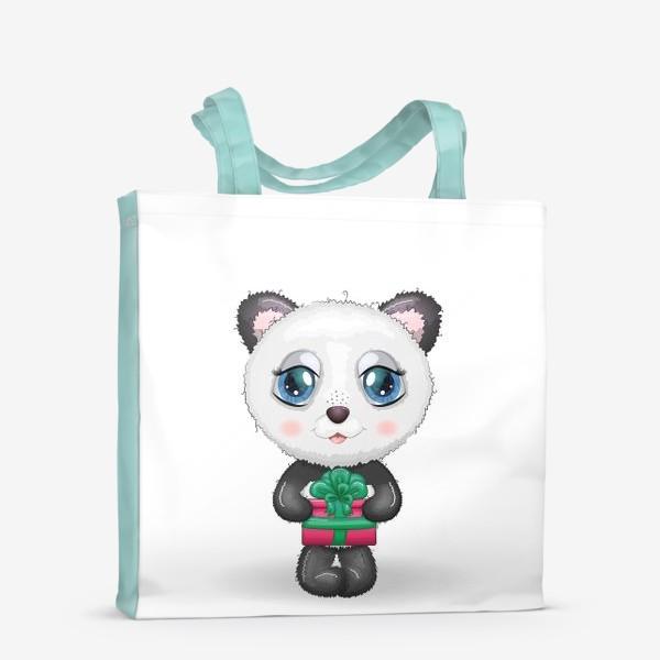 Сумка-шоппер «Панда с подарком, новый год»