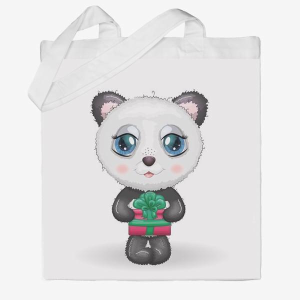 Сумка хб «Панда с подарком, новый год»