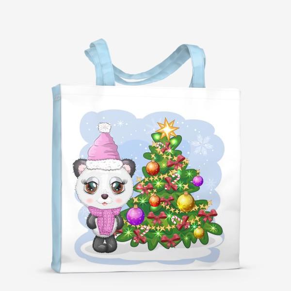 Сумка-шоппер «Панда с новогодней елочкой, новый год»