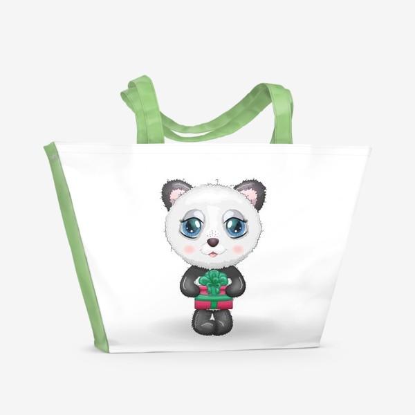 Пляжная сумка «Панда с подарком, новый год»