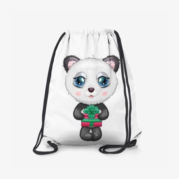 Рюкзак «Панда с подарком, новый год»