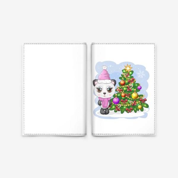 Обложка для паспорта «Панда с новогодней елочкой, новый год»