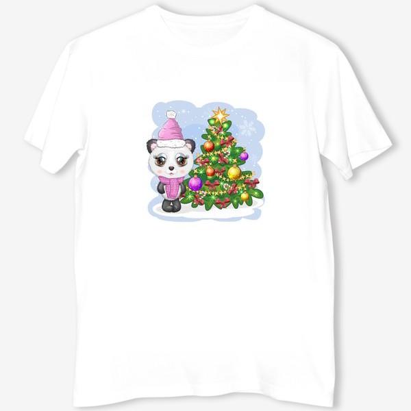 Футболка «Панда с новогодней елочкой, новый год»
