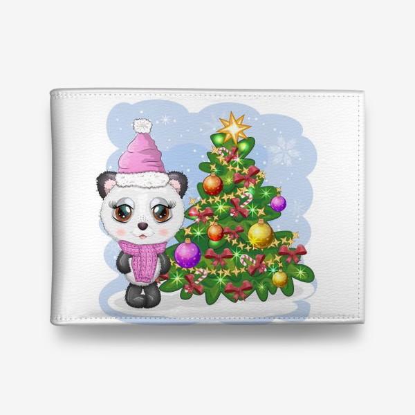 Кошелек «Панда с новогодней елочкой, новый год»