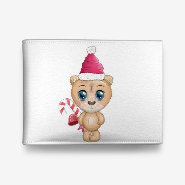 Кошелек «Мишка в шапке Санты с кенди-кейн, новый год»
