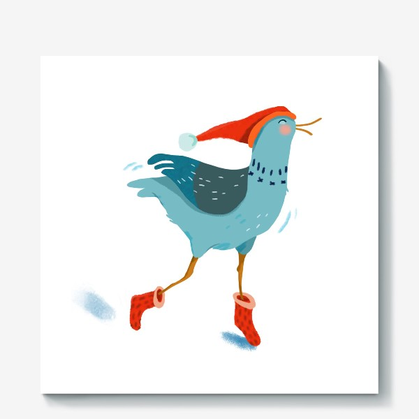 Холст «Птица в красной шапке и в носках»
