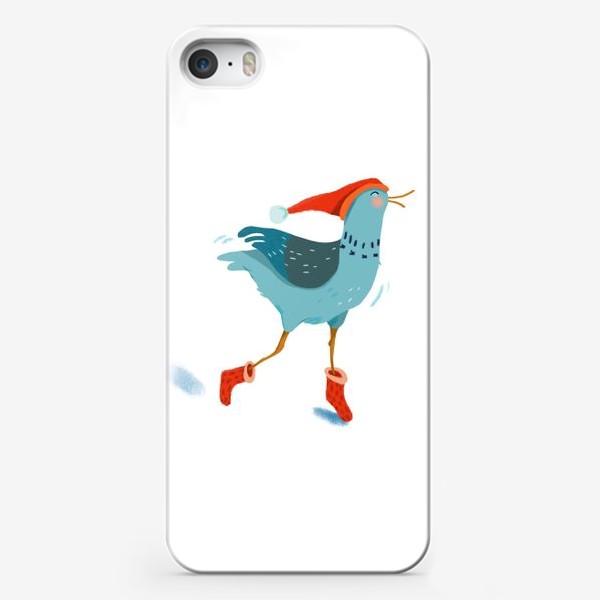 Чехол iPhone «Птица в красной шапке и в носках»