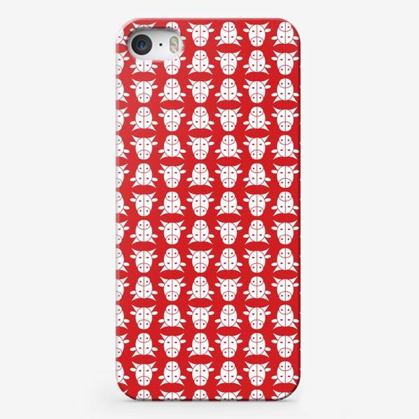 Чехол iPhone «Узор на красном фоне. Год Быка.»