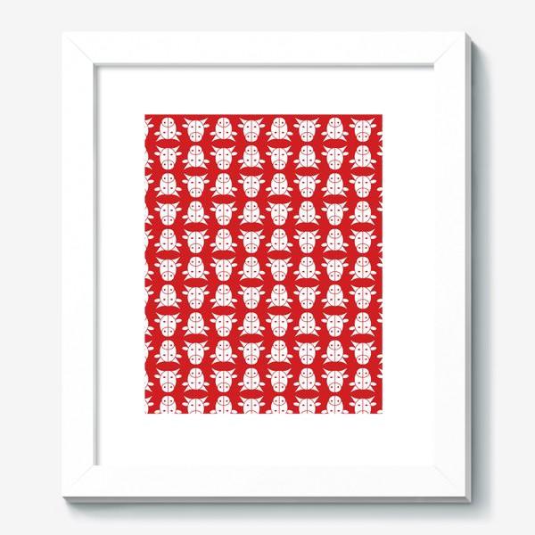 Картина «Узор на красном фоне. Год Быка.»