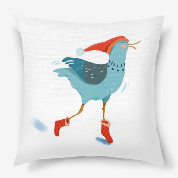 Подушка «Птица в красной шапке и в носках»