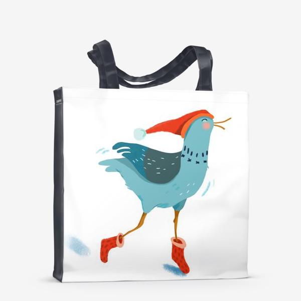 Сумка-шоппер «Птица в красной шапке и в носках»