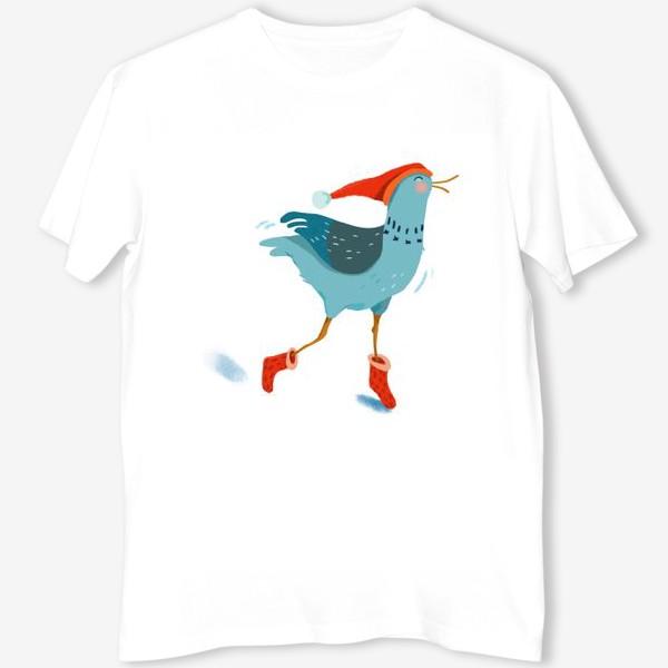 Футболка «Птица в красной шапке и в носках»