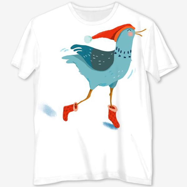 Футболка с полной запечаткой «Птица в красной шапке и в носках»