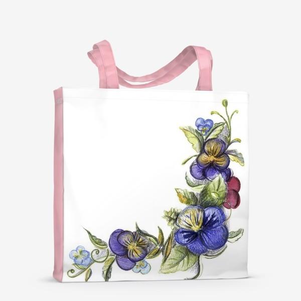 Сумка-шоппер «Цветы анютины глазки»