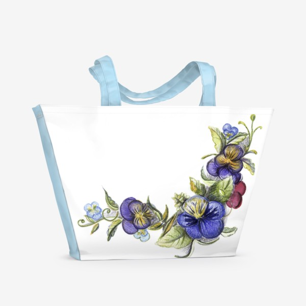Пляжная сумка «Цветы анютины глазки»