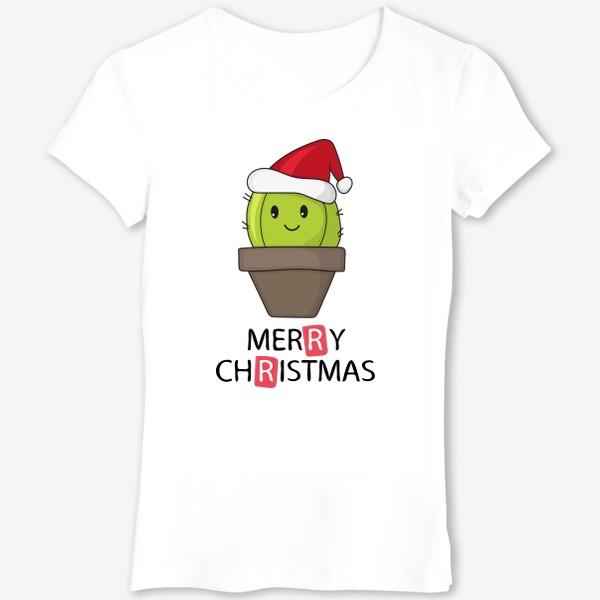 Футболка «Merry Christmas  - Новогодний кактус в горшке »