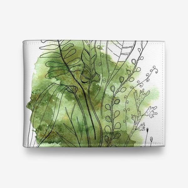 Кошелек «листья и ветки на зеленом абстрактном фоне»