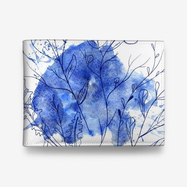 Кошелек «ветки с листьями на синем абстрактном пятне с брызгами»