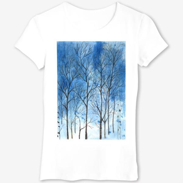Футболка «силуэты деревьев на фоне синего неба, голые деревья»